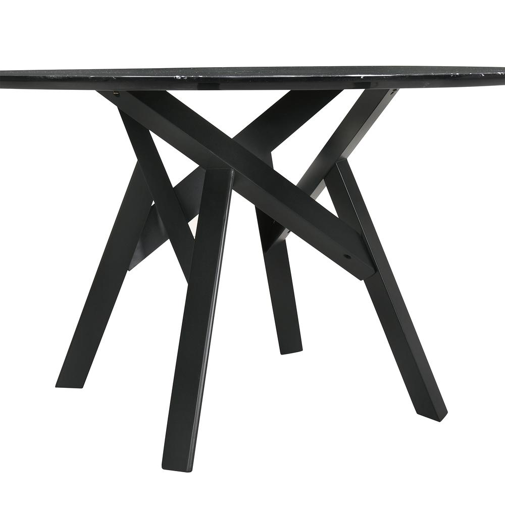 """Venus 54"""" Round Mid-Century Modern Black Marble Dining Table with Black Wood Legs. Picture 2"""