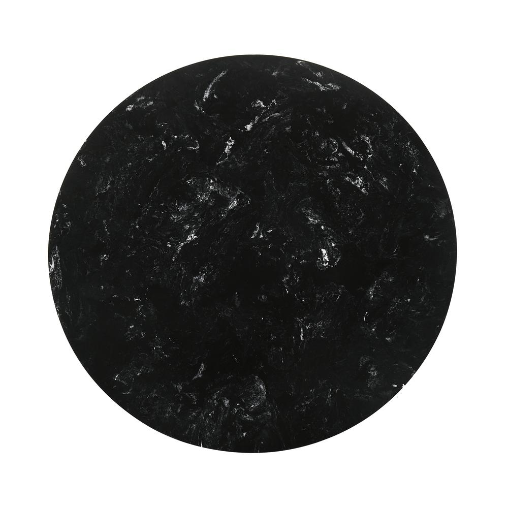 """Venus 54"""" Round Mid-Century Modern Black Marble Dining Table with Black Wood Legs. Picture 3"""