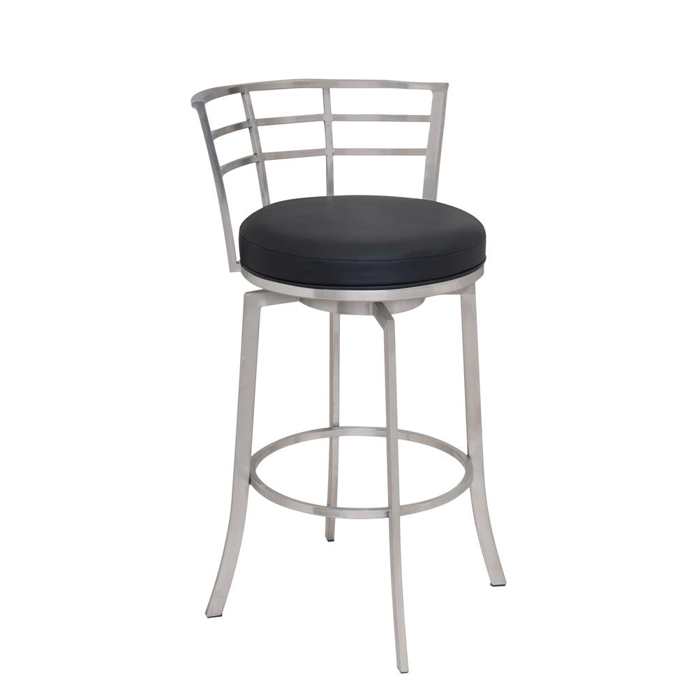 "26"" Counter Height Swivel Barstool in Brushed Stainless Steel finish with Black Faux Leather. Picture 1"