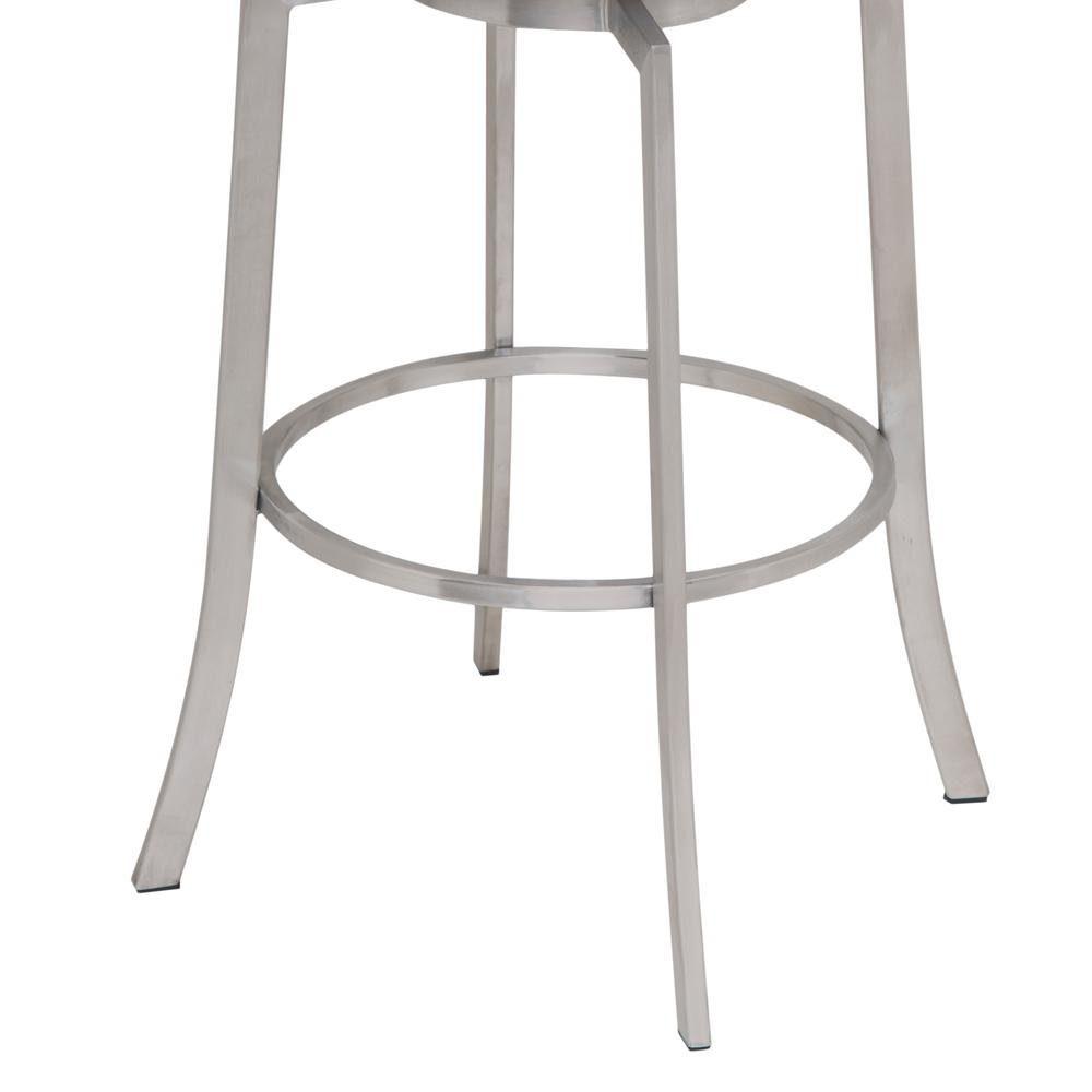 "26"" Counter Height Swivel Barstool in Brushed Stainless Steel finish with Black Faux Leather. Picture 3"