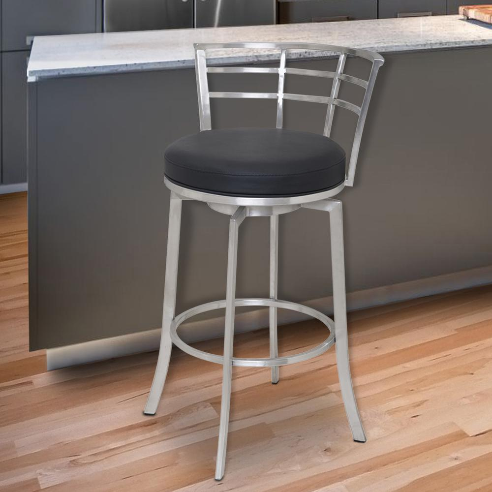 "26"" Counter Height Swivel Barstool in Brushed Stainless Steel finish with Black Faux Leather. Picture 4"