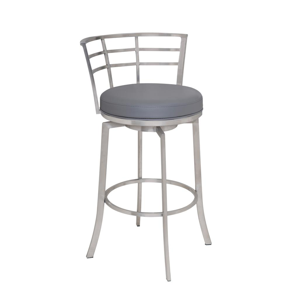 """26"""" Counter Height Swivel Barstool in Brushed Stainless Steel finish with Grey Faux Leather. Picture 1"""
