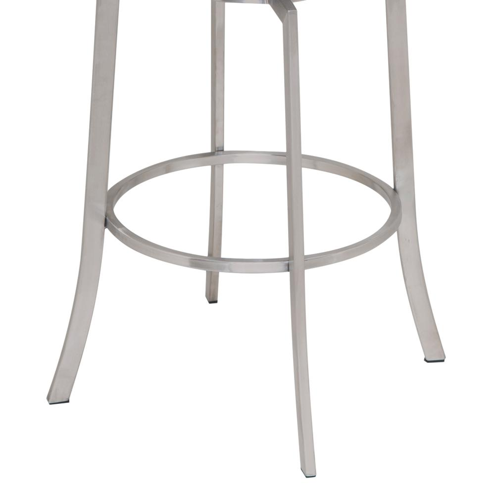 """26"""" Counter Height Swivel Barstool in Brushed Stainless Steel finish with Grey Faux Leather. Picture 3"""