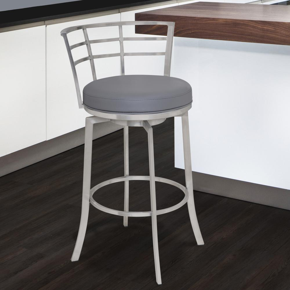 """26"""" Counter Height Swivel Barstool in Brushed Stainless Steel finish with Grey Faux Leather. Picture 4"""