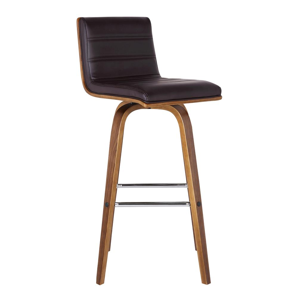 """26"""" Counter Height Barstool in Walnut Wood Finish - Brown Faux Leather. Picture 1"""