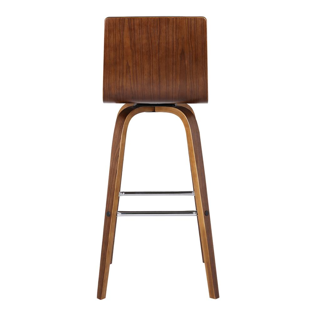 """26"""" Counter Height Barstool in Walnut Wood Finish - Brown Faux Leather. Picture 2"""