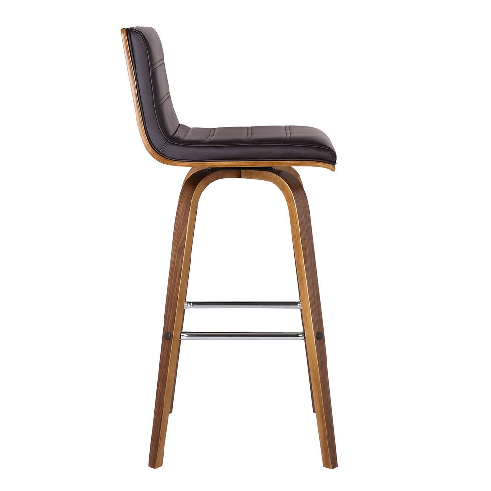 """26"""" Counter Height Barstool in Walnut Wood Finish - Brown Faux Leather. Picture 4"""