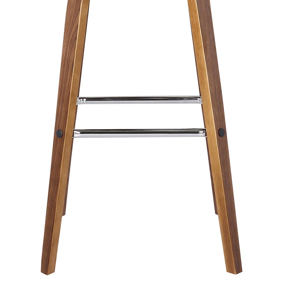 """26"""" Counter Height Barstool in Walnut Wood Finish - Brown Faux Leather. Picture 6"""