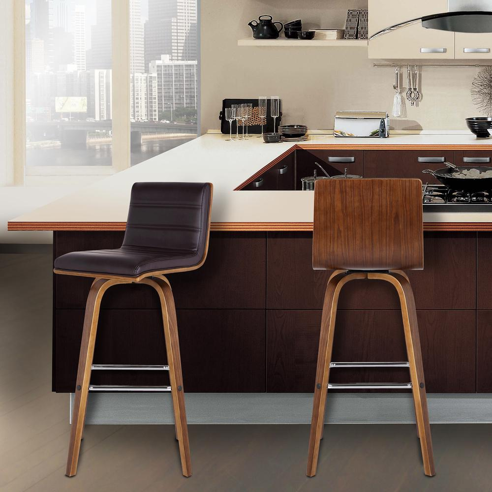 """26"""" Counter Height Barstool in Walnut Wood Finish - Brown Faux Leather. Picture 7"""