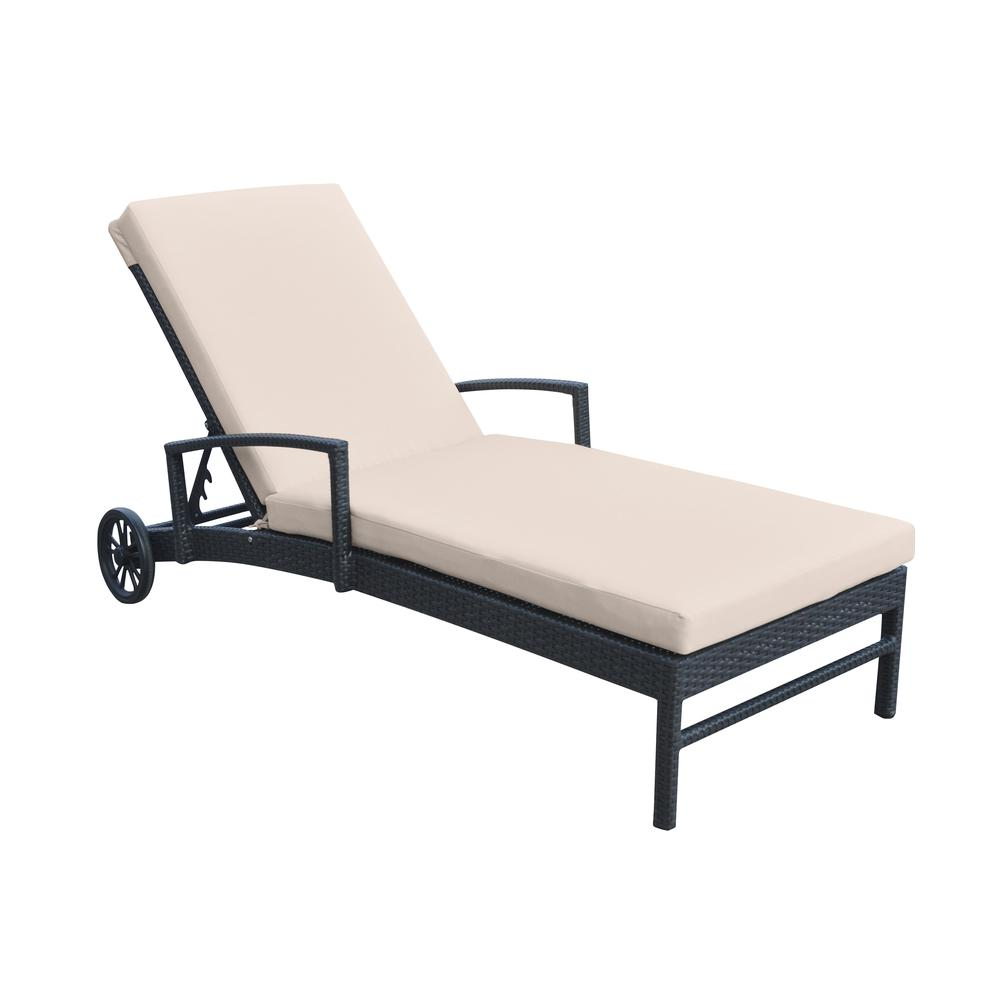 Outdoor WickerLounge Chair with Water Resistant Beige Fabric Cushion. Picture 1