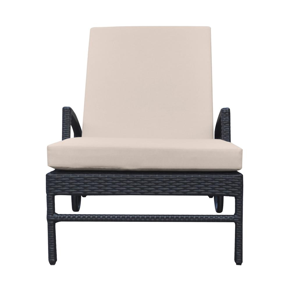 Outdoor WickerLounge Chair with Water Resistant Beige Fabric Cushion. Picture 2