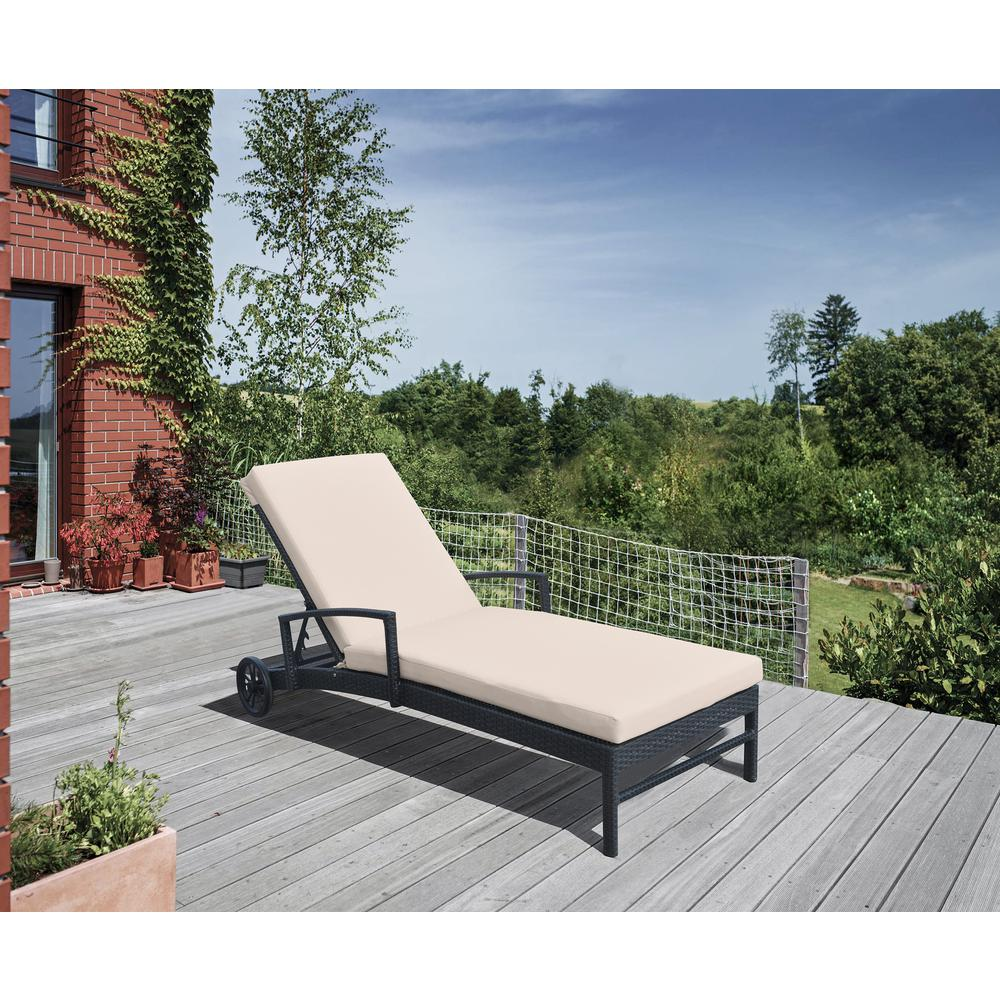 Outdoor WickerLounge Chair with Water Resistant Beige Fabric Cushion. Picture 6
