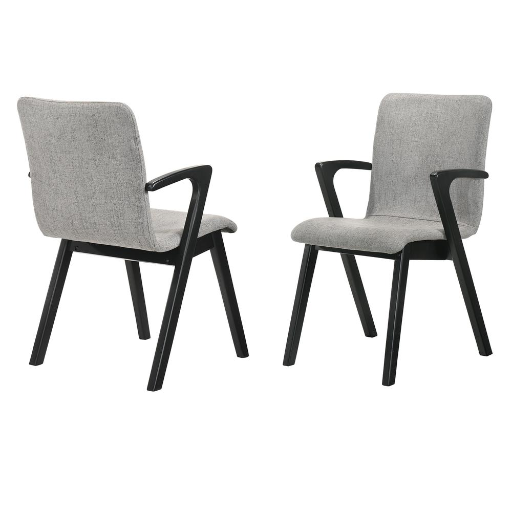 Varde Mid-Century Modern Dining Accent Chair with Black Finish and Grey Fabric - Set of 2. Picture 1