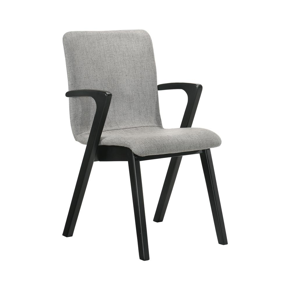 Varde Mid-Century Modern Dining Accent Chair with Black Finish and Grey Fabric - Set of 2. Picture 2