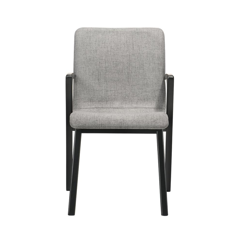 Varde Mid-Century Modern Dining Accent Chair with Black Finish and Grey Fabric - Set of 2. Picture 3