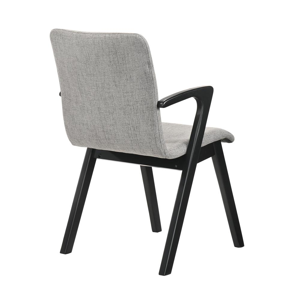 Varde Mid-Century Modern Dining Accent Chair with Black Finish and Grey Fabric - Set of 2. Picture 4