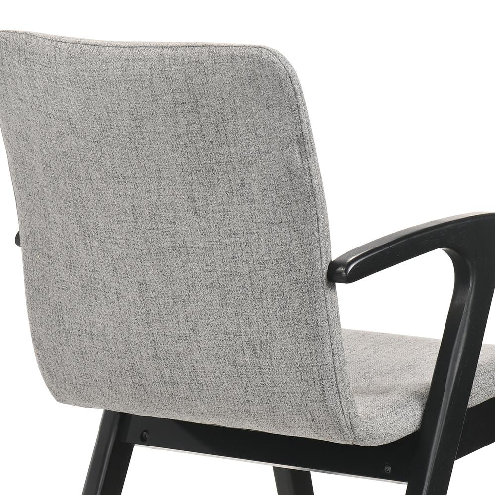 Varde Mid-Century Modern Dining Accent Chair with Black Finish and Grey Fabric - Set of 2. Picture 5