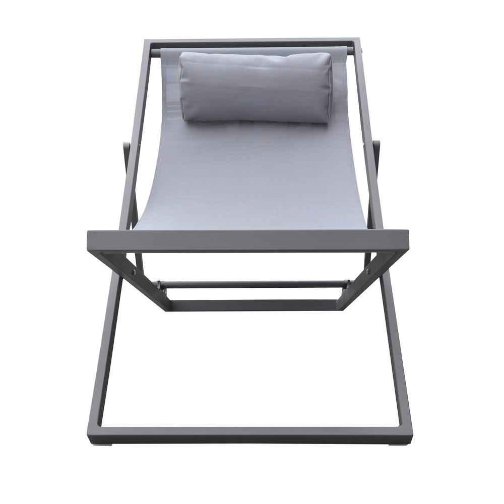 Outdoor Patio Aluminum Deck Chair in Grey Powder Coated Finish with Grey Sling Textilene. Picture 2