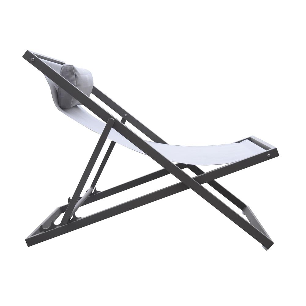 Outdoor Patio Aluminum Deck Chair in Grey Powder Coated Finish with Grey Sling Textilene. Picture 3