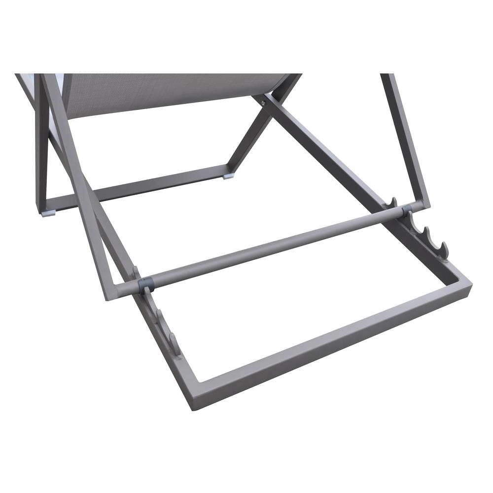Outdoor Patio Aluminum Deck Chair in Grey Powder Coated Finish with Grey Sling Textilene. Picture 5