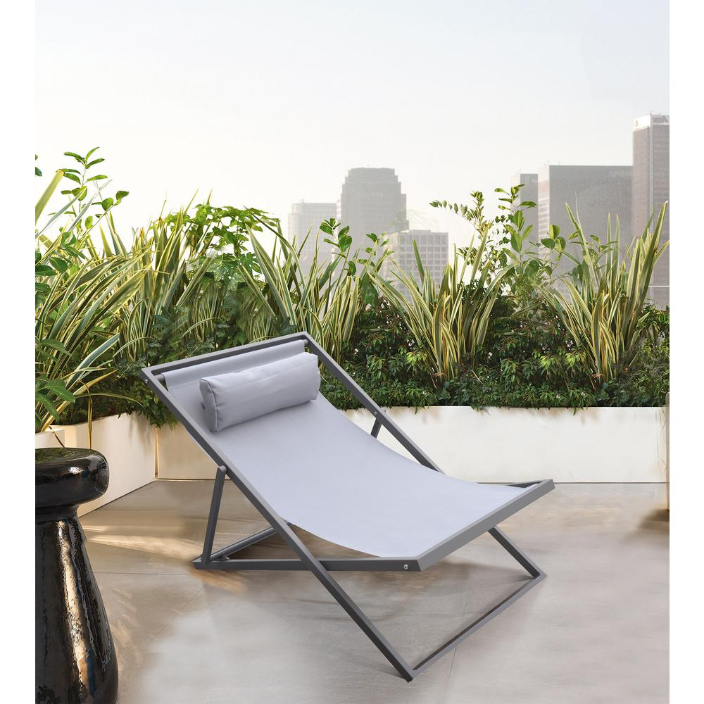 Outdoor Patio Aluminum Deck Chair in Grey Powder Coated Finish with Grey Sling Textilene. Picture 8