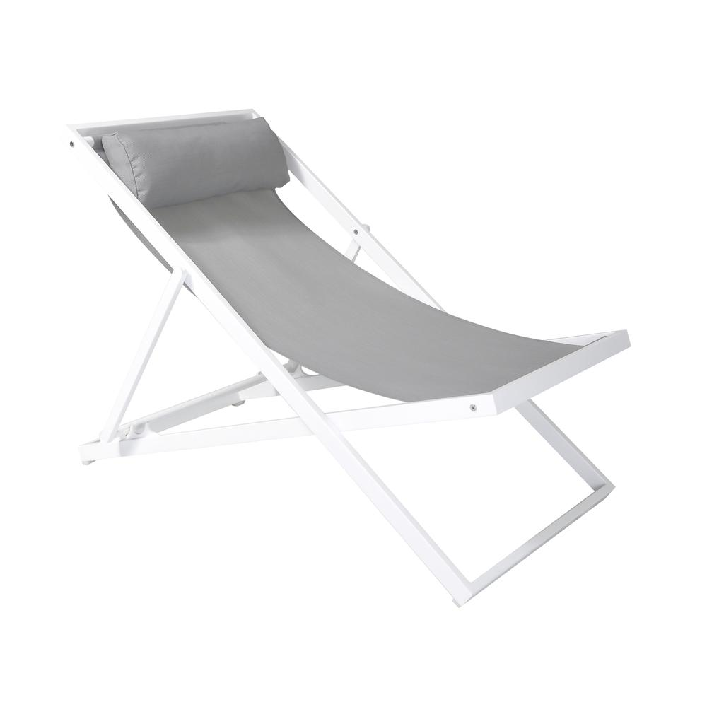 Outdoor Patio Aluminum Deck Chair in White Powder Coated Finish with Grey Sling Textilene. Picture 1