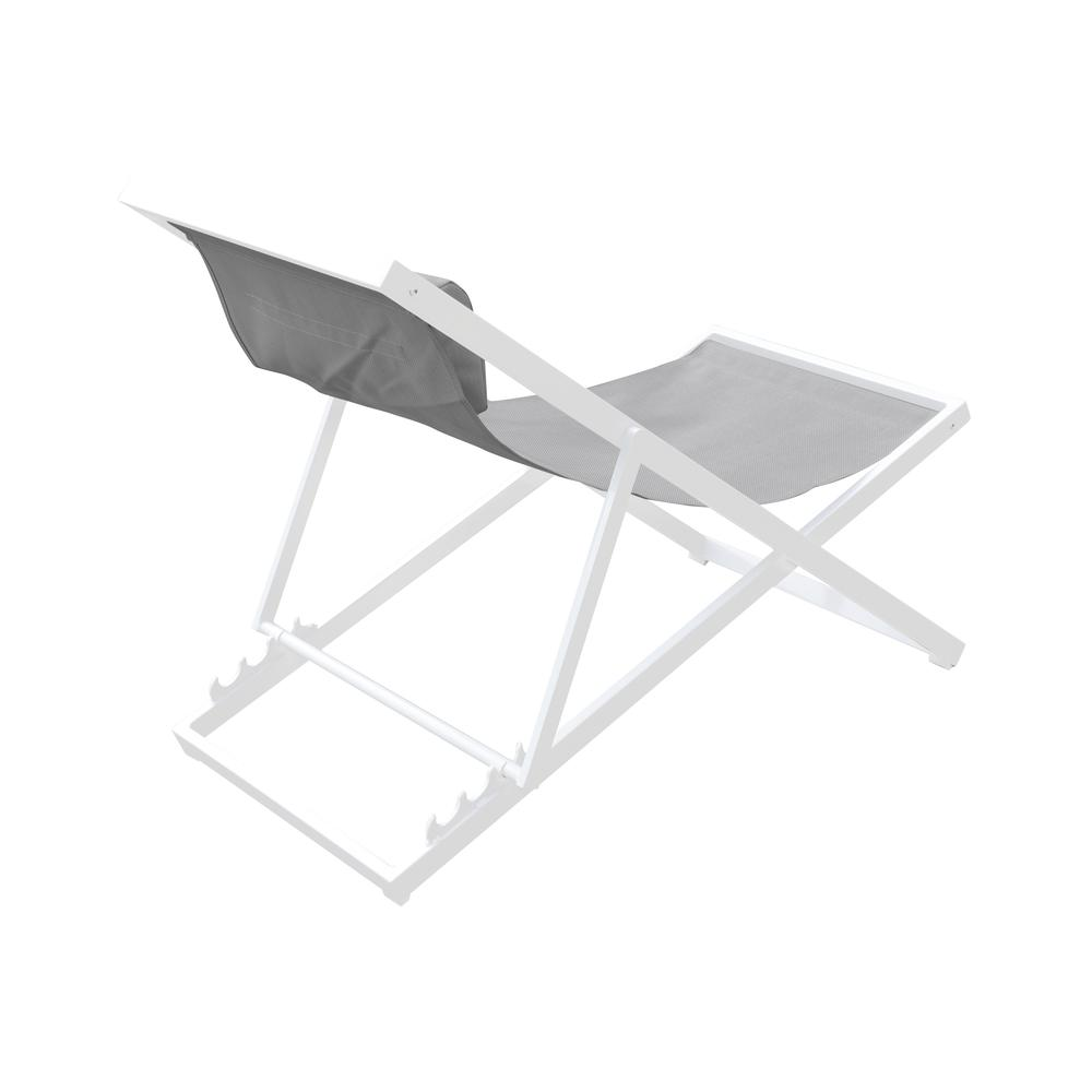 Outdoor Patio Aluminum Deck Chair in White Powder Coated Finish with Grey Sling Textilene. Picture 2