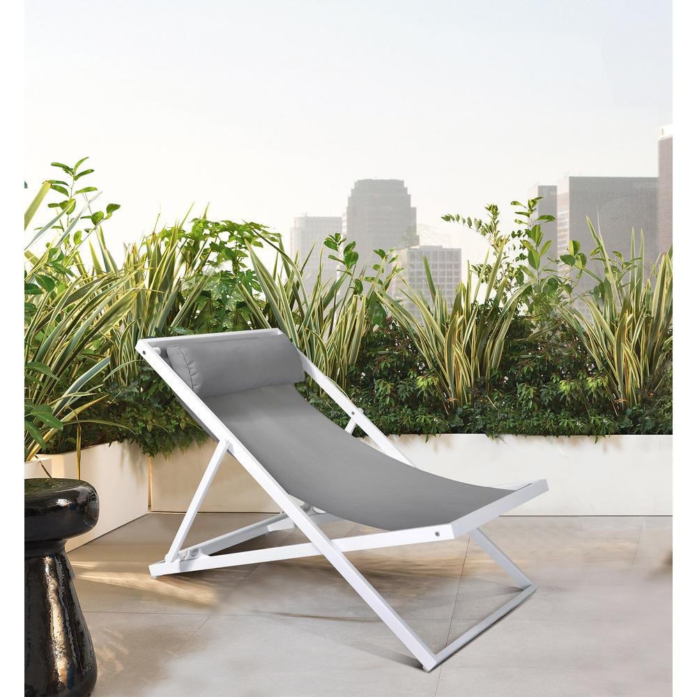 Outdoor Patio Aluminum Deck Chair in White Powder Coated Finish with Grey Sling Textilene. Picture 6