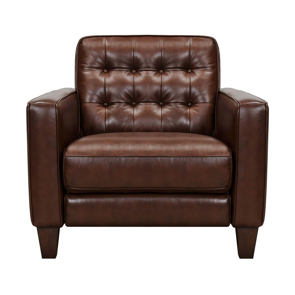 Wesley Leather Power Reclining Tuxedo Arm Accent Chair, Chestnut. Picture 1