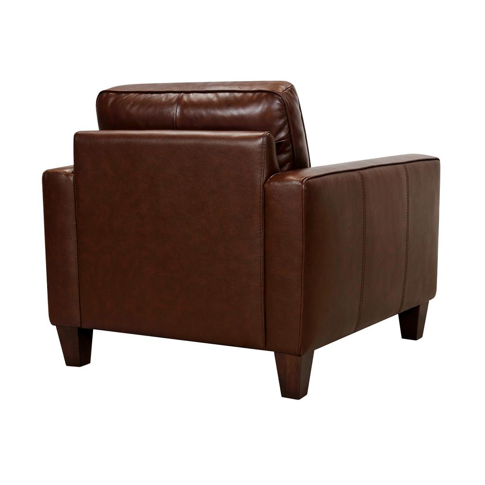 Wesley Leather Power Reclining Tuxedo Arm Accent Chair, Chestnut. Picture 3