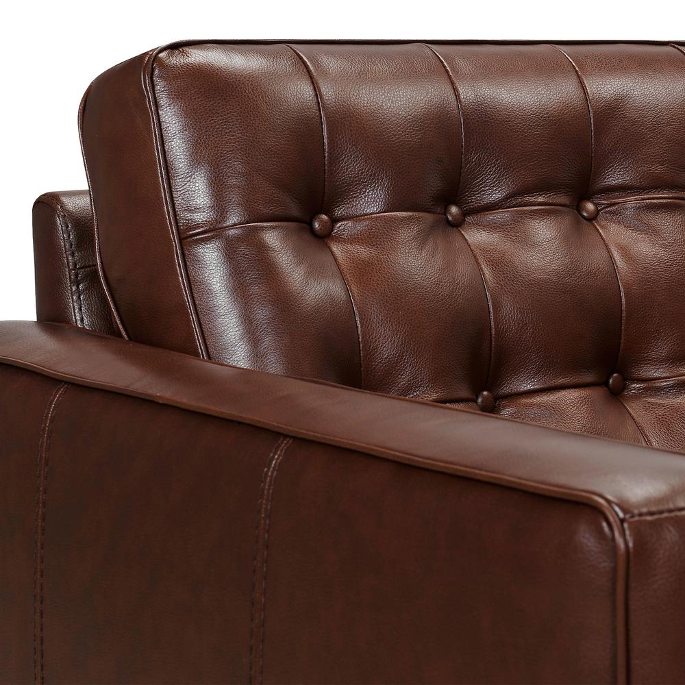 Wesley Leather Power Reclining Tuxedo Arm Accent Chair, Chestnut. Picture 4