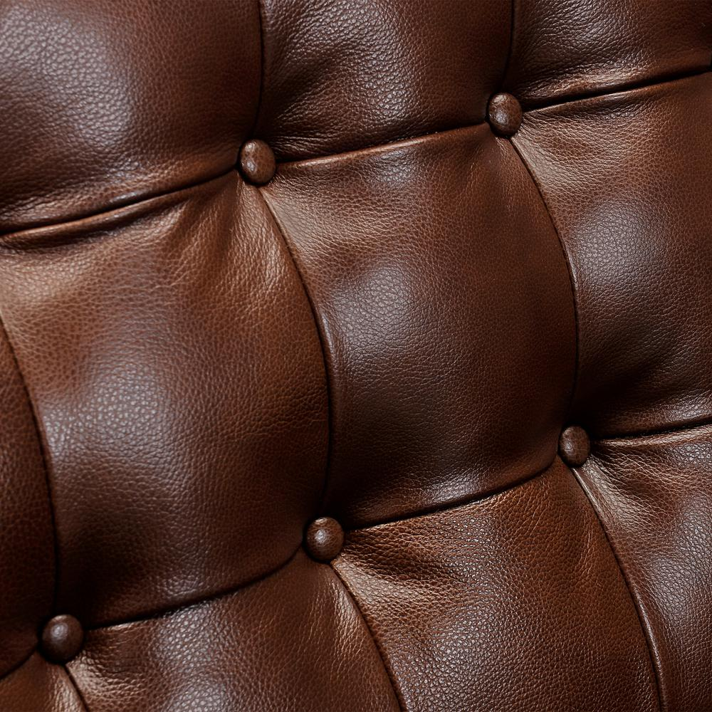 Wesley Leather Power Reclining Tuxedo Arm Accent Chair, Chestnut. Picture 5