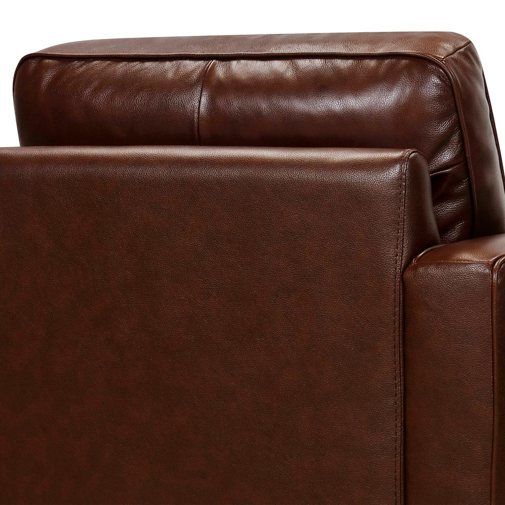 Wesley Leather Power Reclining Tuxedo Arm Accent Chair, Chestnut. Picture 6