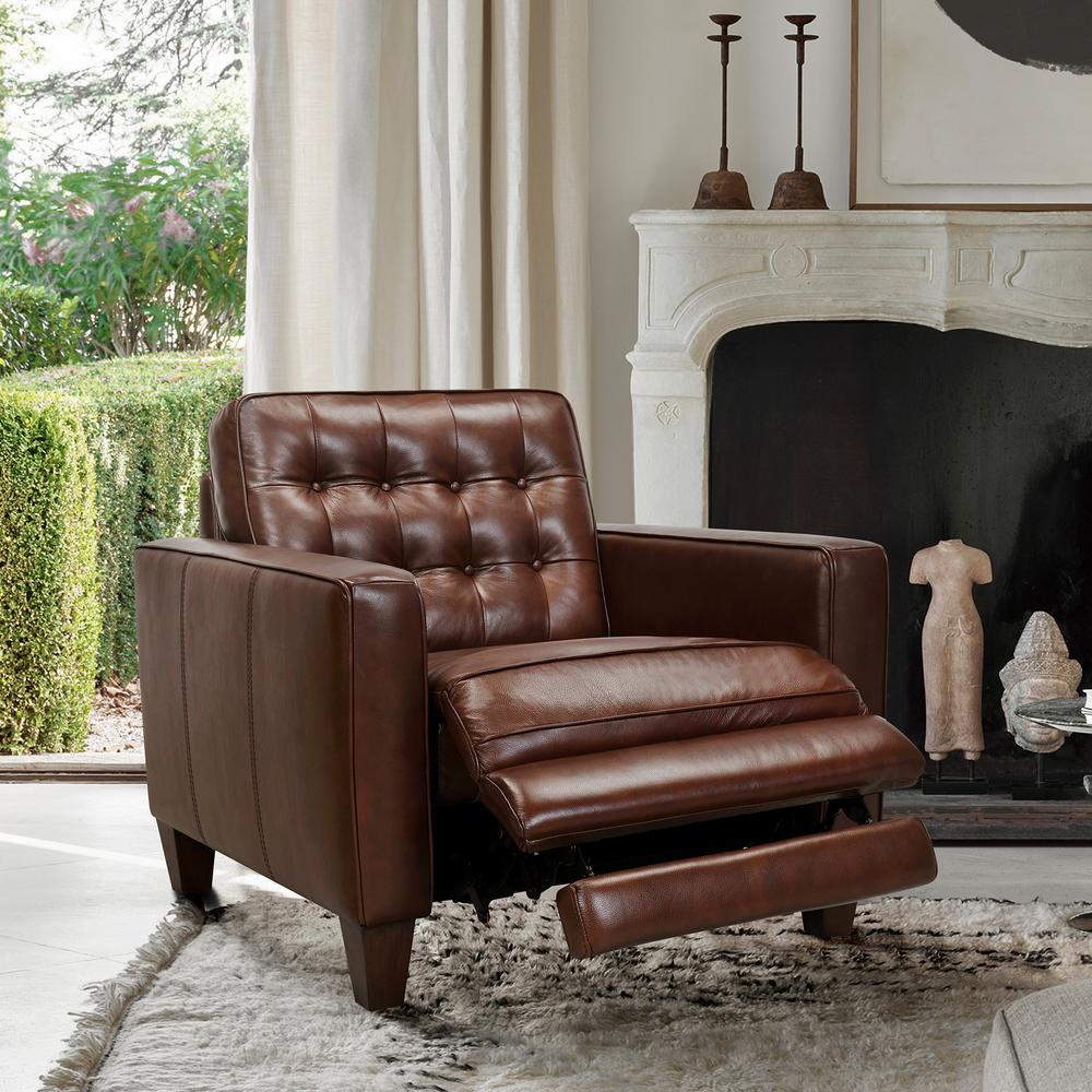 Wesley Leather Power Reclining Tuxedo Arm Accent Chair, Chestnut. Picture 2