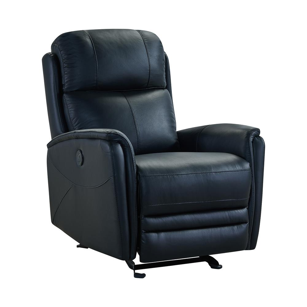 Contemporary Recliner in Black Genuine Leather. Picture 1