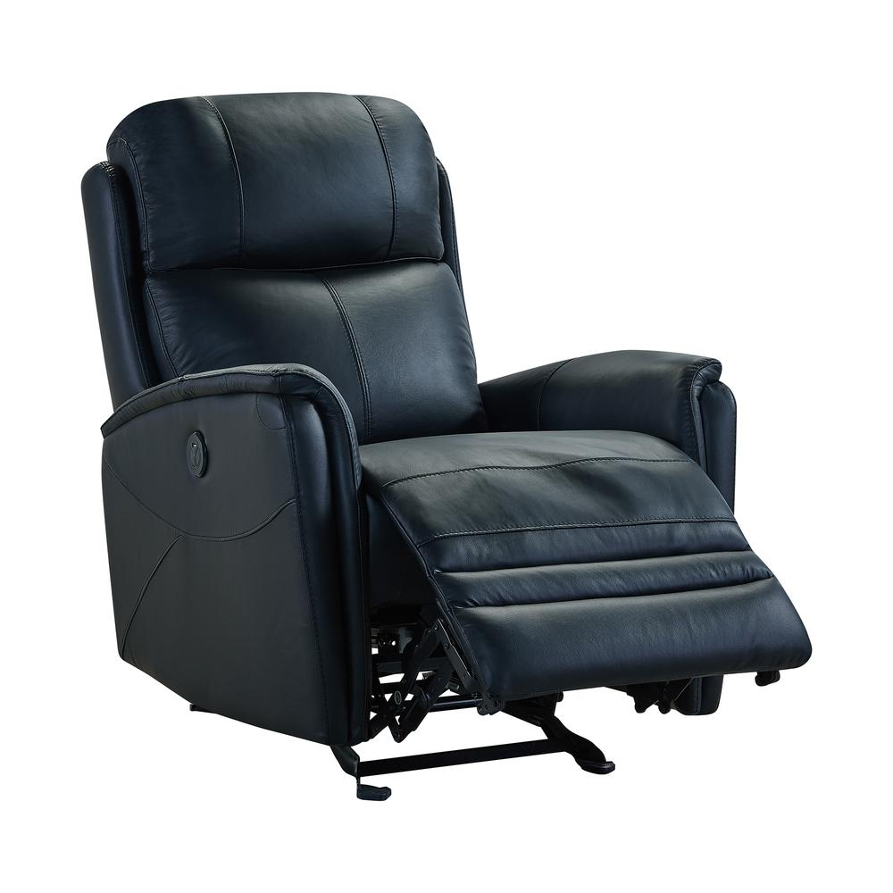 Contemporary Recliner in Black Genuine Leather. Picture 2