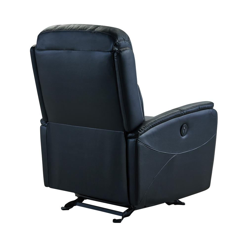 Contemporary Recliner in Black Genuine Leather. Picture 4