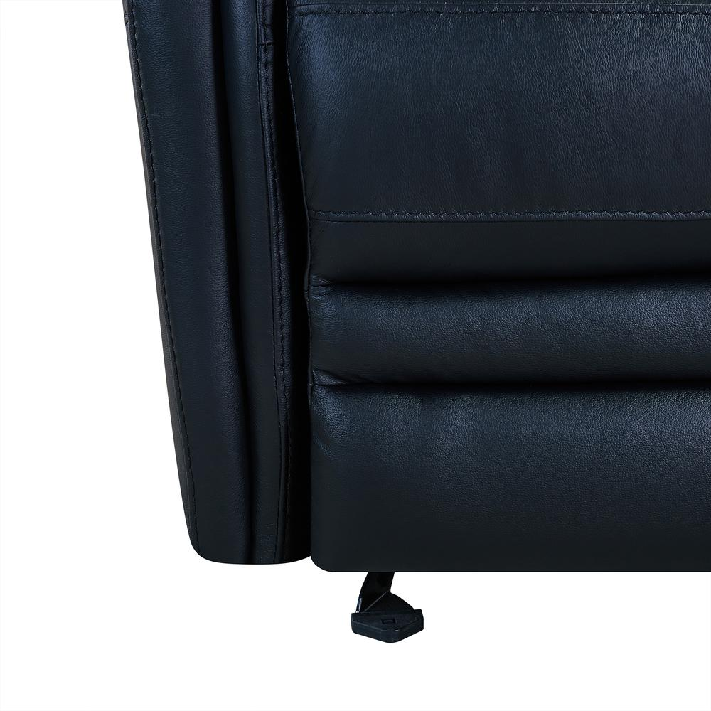 Contemporary Recliner in Black Genuine Leather. Picture 7