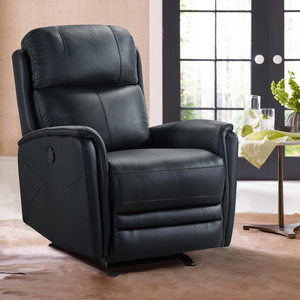 Contemporary Recliner in Black Genuine Leather. Picture 9