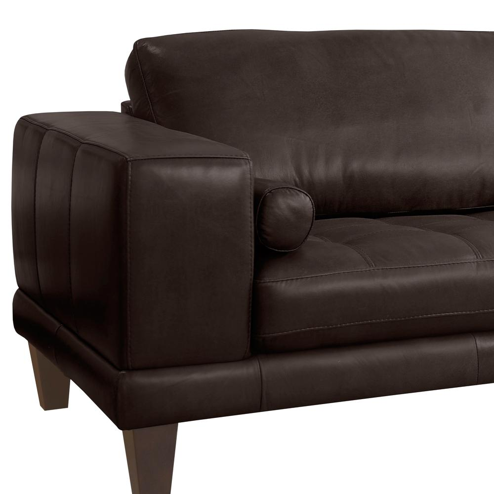 Contemporary Sofa in Genuine Espresso Leather with Brown Wood Legs. Picture 4