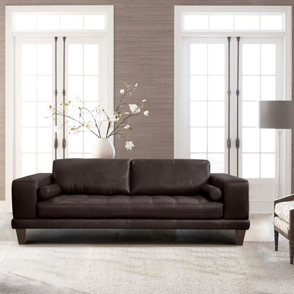 Contemporary Sofa in Genuine Espresso Leather with Brown Wood Legs. Picture 5