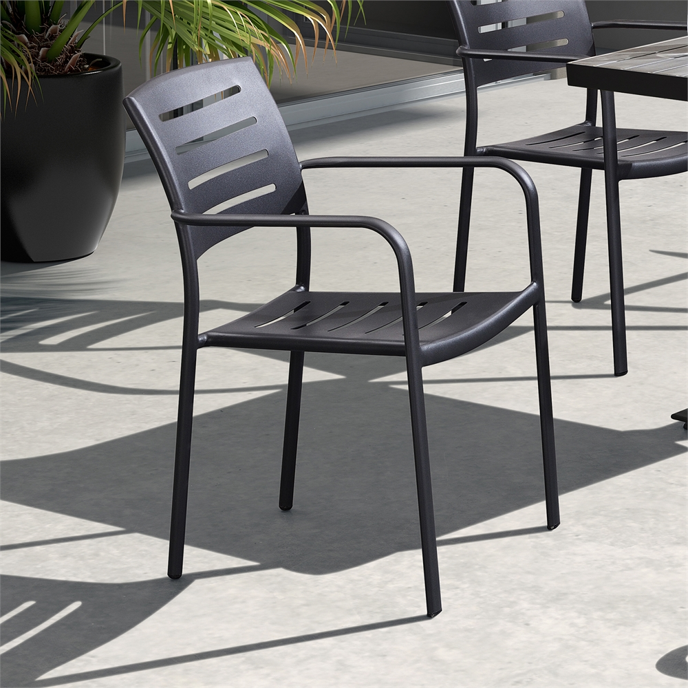 Zander stackable outdoor patio dining chair in gray for Stackable outdoor dining chairs