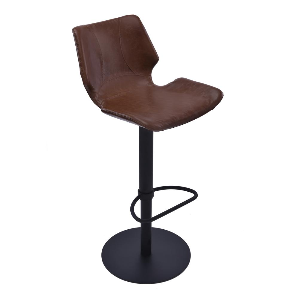 Adjustable Swivel Metal Barstool in Vintage Coffee Faux Leather and Black Metal Finish. Picture 1