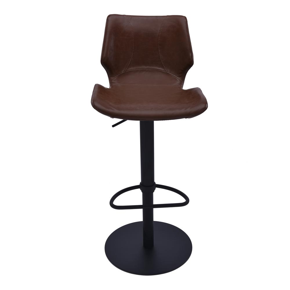 Adjustable Swivel Metal Barstool in Vintage Coffee Faux Leather and Black Metal Finish. Picture 2