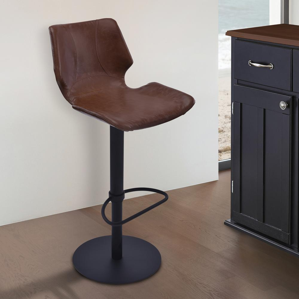 Adjustable Swivel Metal Barstool in Vintage Coffee Faux Leather and Black Metal Finish. Picture 5