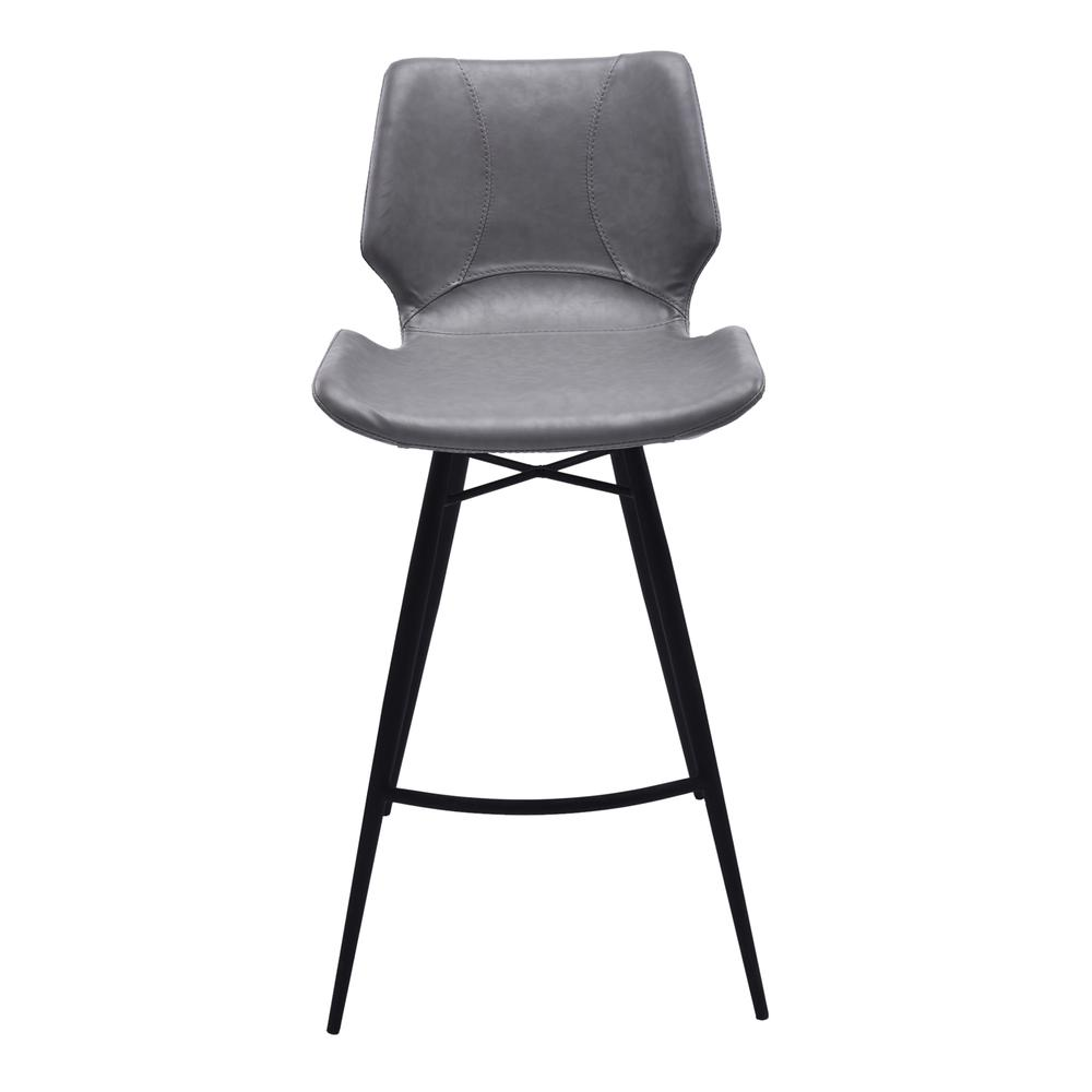 "30"" Bar Height Metal Barstool in Vintage Gray Faux Leather and Black Metal Finish. Picture 2"