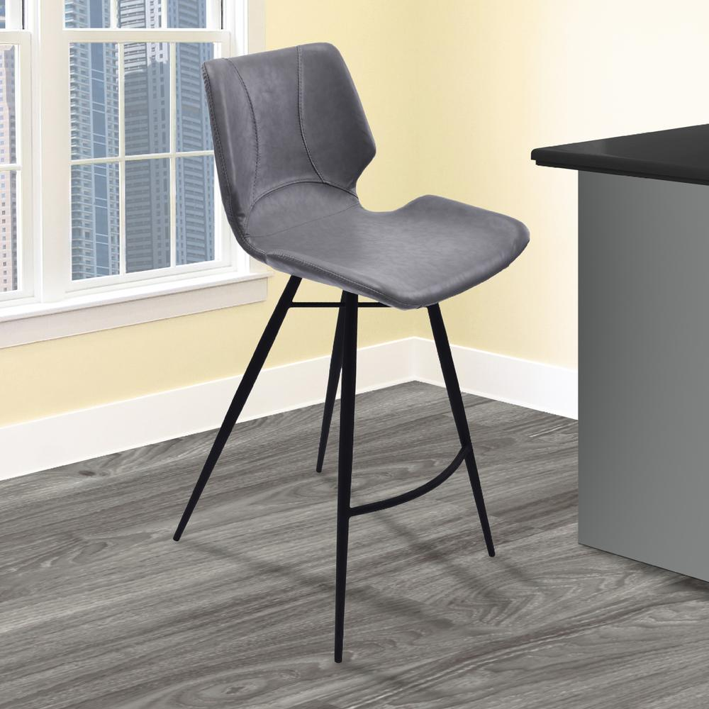"30"" Bar Height Metal Barstool in Vintage Gray Faux Leather and Black Metal Finish. Picture 5"