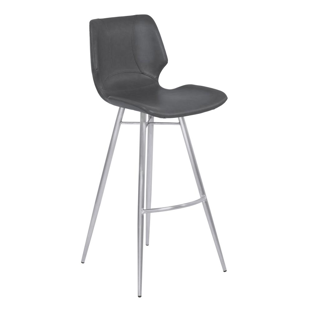 """26"""" Counter Height Metal Barstool in Vintage Gray Faux Leather with Brushed Stainless Steel Finish. Picture 1"""