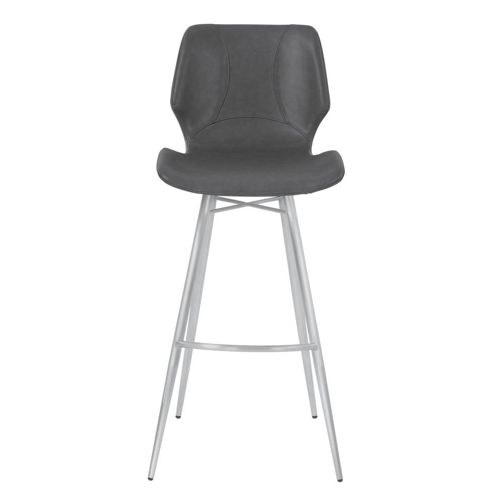 """26"""" Counter Height Metal Barstool in Vintage Gray Faux Leather with Brushed Stainless Steel Finish. Picture 2"""