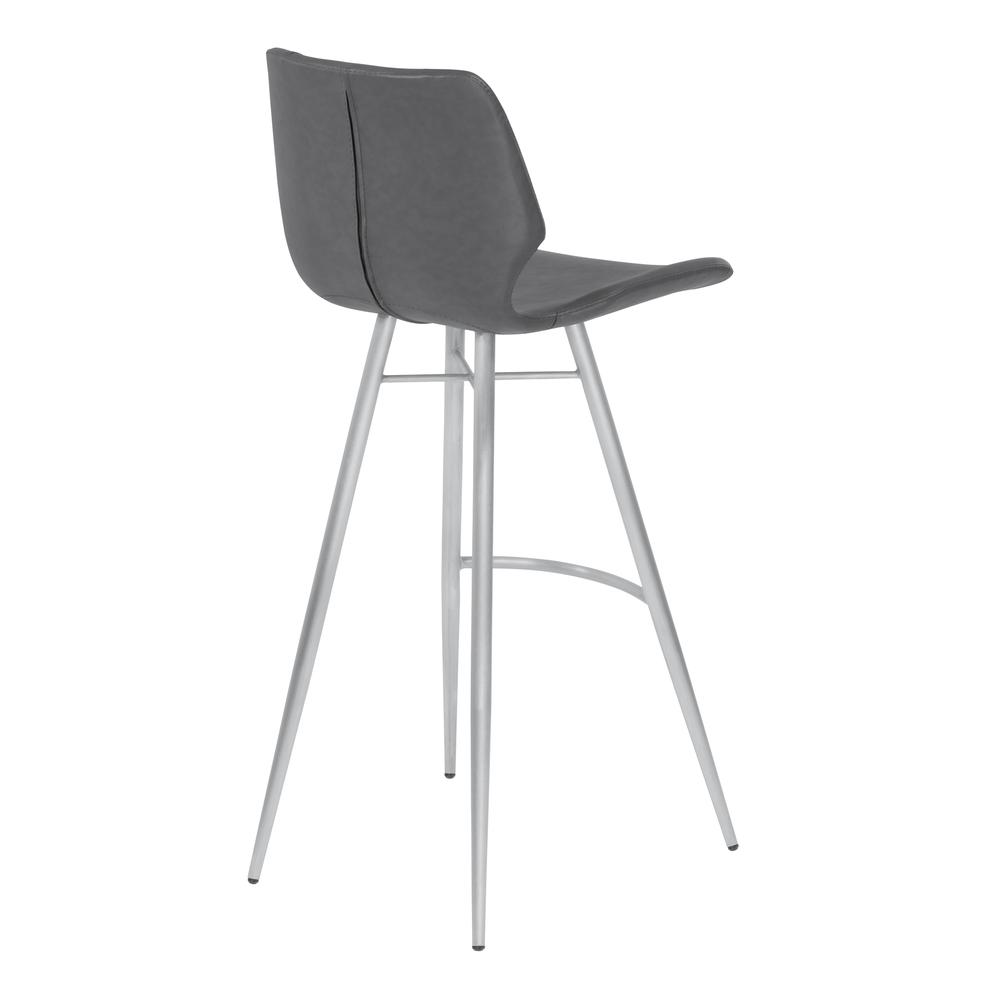 """26"""" Counter Height Metal Barstool in Vintage Gray Faux Leather with Brushed Stainless Steel Finish. Picture 3"""